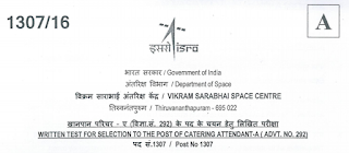 ISRO Catering Attendant 2016 Question Paper with Key Paper