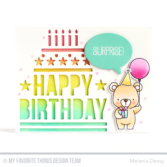 Handmade card from Melania Deasy featuring Birdie Brown Beary Special Birthday stamp set and Die-namics, Birthday Speech Bubbles and Happy Birthday Centerpieces Die-namics #mftstamps