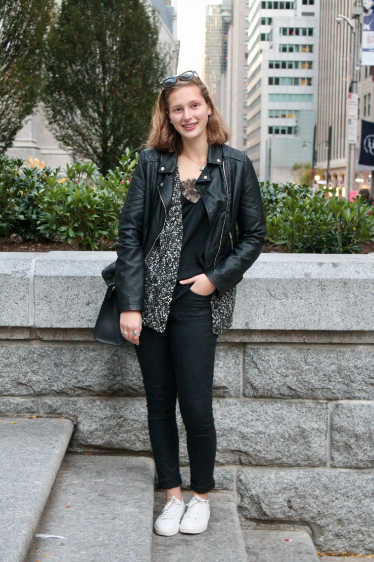NYC ootd, all black motto jacket, black skinny jeans, lingerie top and black bag + white trainers