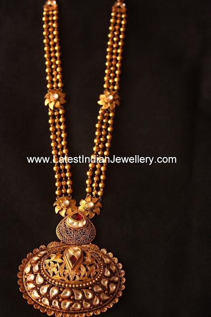 Kundan Pendant Gold Balls Haram