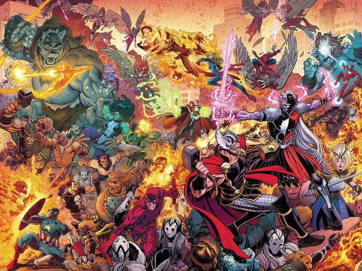 WAR OF THE REALMS  1 (OF 6) JASON AARON (W) • RUSSELL DAUTERMAN (A) Cover  by ARTHUR ADAMS   MATTHEW WILSON - JAN190870 Variant Cover by VICTOR HUGO -  ... 59526bd2fe0