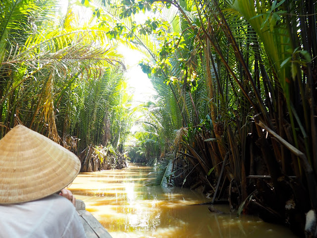 Sailing through the jungle up rivers of the Mekong Delta, Vietnam