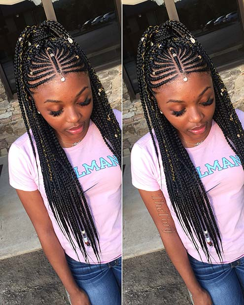 33 Fulani Tribal Braids Ponytail Hairstyles For Black Hair