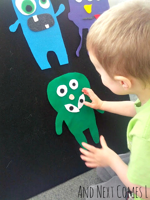 Making monsters on the felt board to explore and learn about emotions