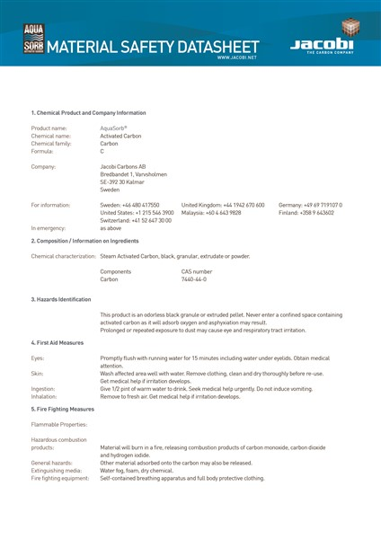 Material Safety Data Sheet (MSDS) Karbon Aktif Jacobi