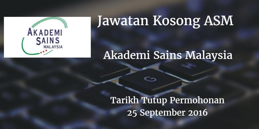 Jawatan Kosong ASM 25 September 2016