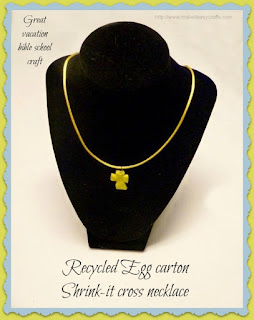 Recycled egg carton shrink-it cross necklace