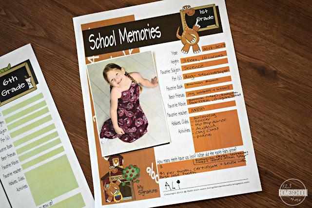 school-memory-sheets