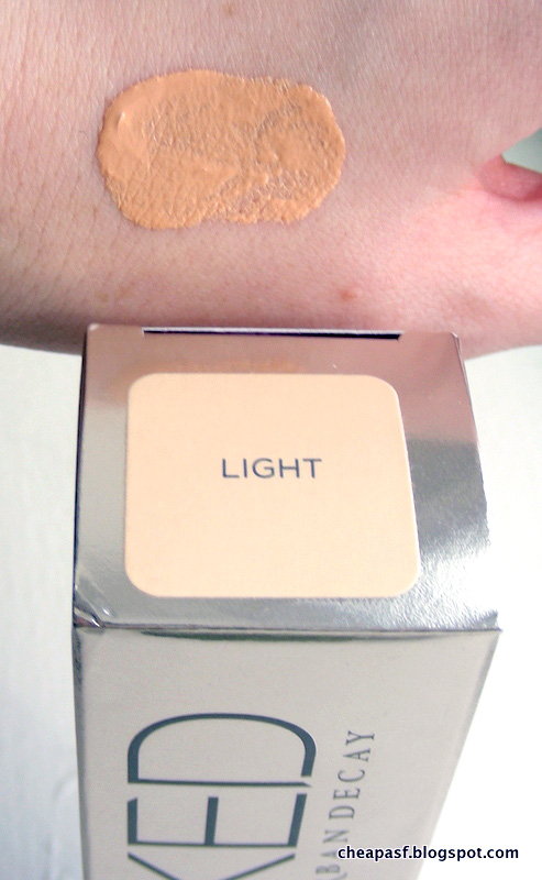 Comparison Swatches of Urban Decay Naked Skin One & Done in Light and Medium Light
