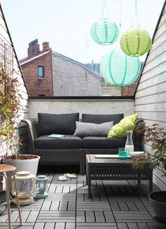 oświetlenie na balkonie, ikea
