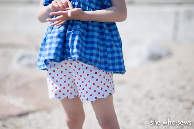 Blue gingham top at the beach
