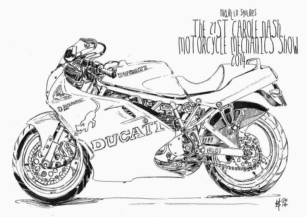martin squires automotive illustration 2014 Honda 450 Scrambler ink sketch
