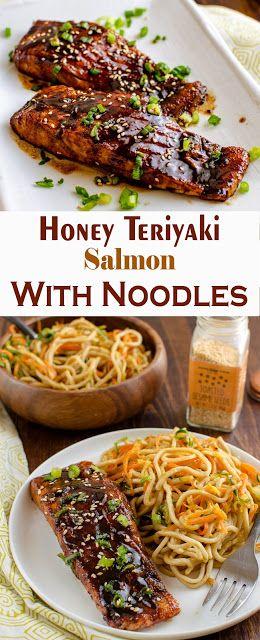 HONEY TERIYAKI SALMON WITH NOODLES