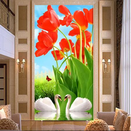 Tranh thiên nga và hoa