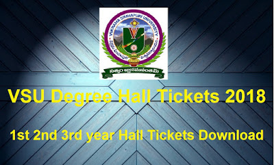 Manabadi VSU Degree Hall Tickets 2018 Download, Schools9 VSU UG Hall Tickets 2018