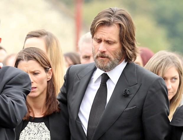 Jim Carrey at the funeral of his ex-girlfriend, Cathriona White