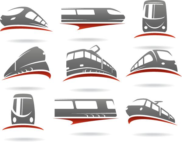 Logos de transporte trenes - Vector