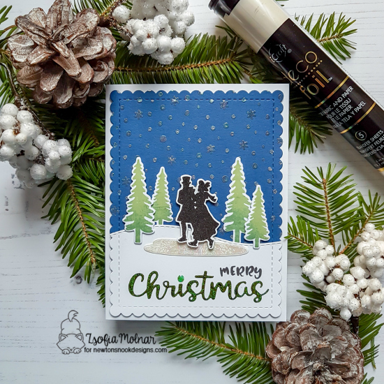 Newton's Nook Designs & Therm O Web Inspiration Week | Christmas Skating Card by Zsofia Molnar | Winter Memories Stamp Set and Holiday Greetings Die Set by Newton's Nook Designs and Foils by Therm O Web #newtonsnook #thermoweb