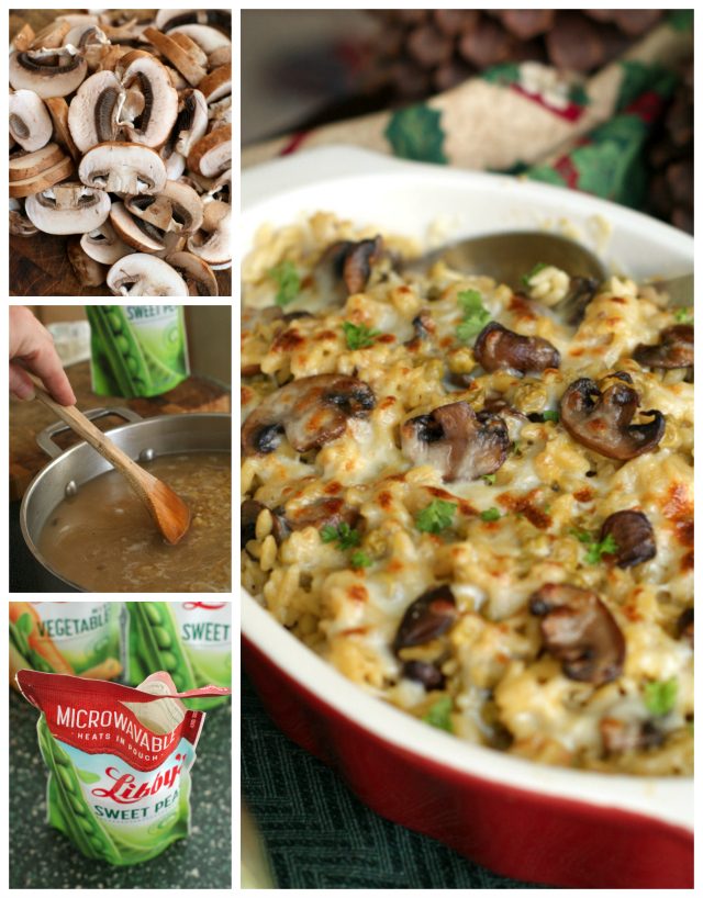 Cheesy Mushroom and Pea Orzo that is made with three kinds of cheese, baby bellas, and Libby's Sweet Peas is a delicious casserole perfect for serving on holidays or with Sunday dinner.  #AD @LibbysTable