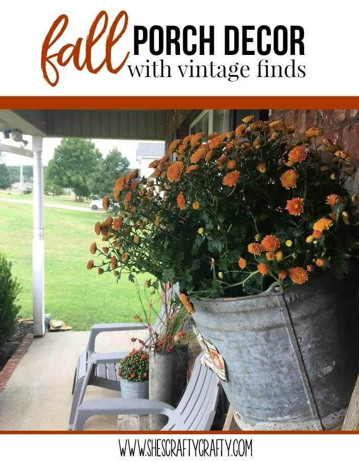 fall front porch decor on a budget with vintage finds