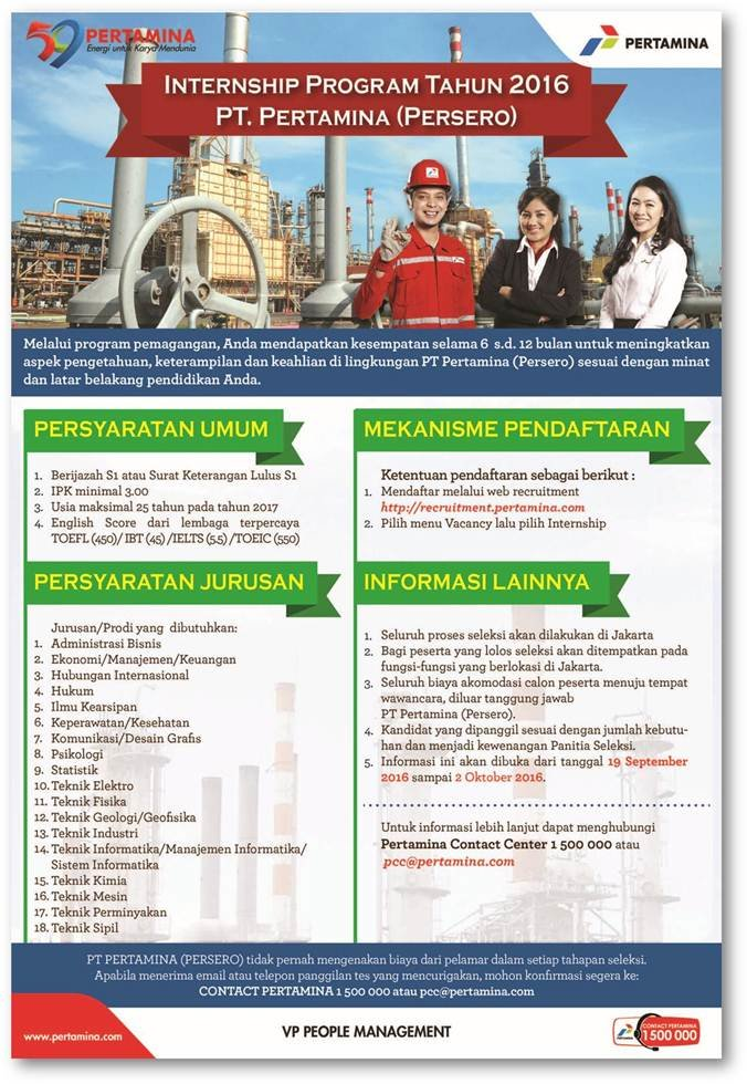 Penerimaan Pegawai Baru Program Internship PT.Pertamina (Persero)