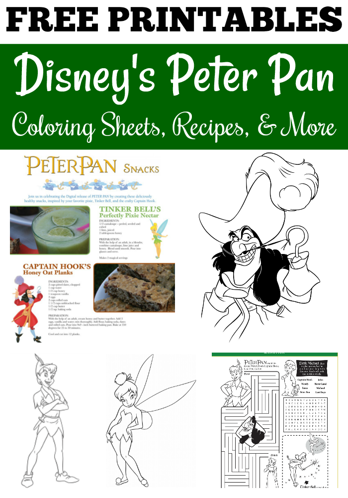 Disney's Peter Pan - Free Coloring Sheets, Activities, & Recipes