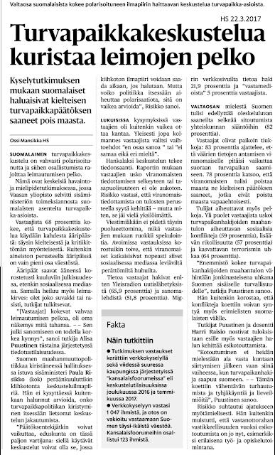 Pekka Korpivaara Sisäministeriön tutkimus kansalaisten miepipiteistä pakolaisista 21.3.2017