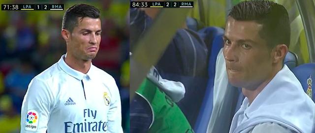 Cristiano Ronaldo enfadado por no ganarle a la UD Las Palmas