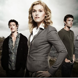 "Emily Rose, Lucas Bryant and Eric Balfour in Haven, loosely based on Stephen King's story ""The Colorado Kid"""