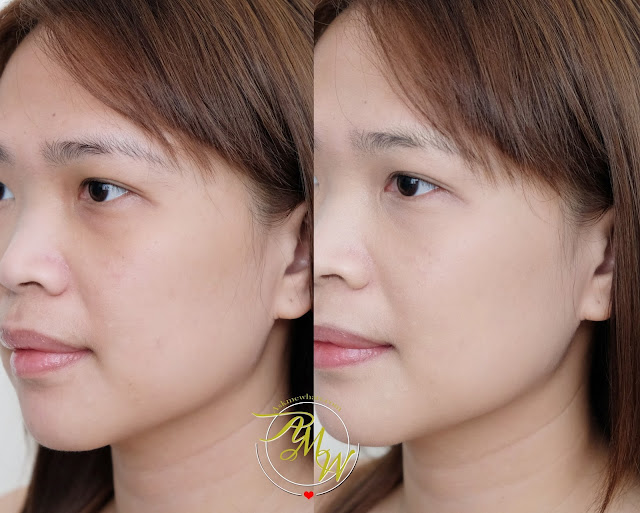 before and after photo of AprilSkin Magic Snow Cushion Review by Nikki Tiu of www.askmewhats.com