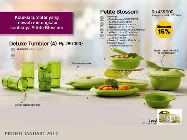 Delux Tumbler dan Petite Blossom Promo Tupperware Januari 2017