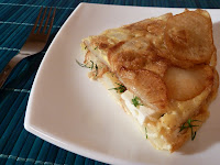 Tortilla de cartofi cu branza si marar