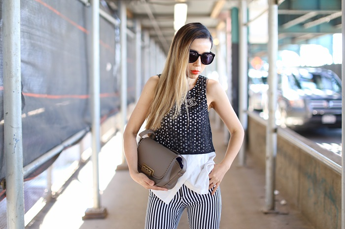 Derek Lam 10 crosby 2 in 1 tank, alice and olivia flare pants, zac posen bag, karen walker super duper sunglasses, kendra scott earrings, spring outfit ideas, black and white outfit, Chanel brooch
