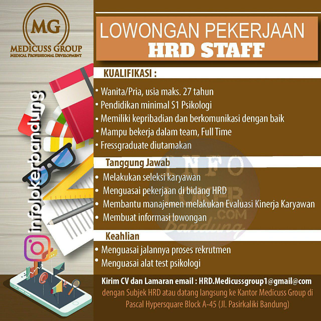 Lowongan Kerja HRD Staff Medicuss Group Bandung Mei 2018