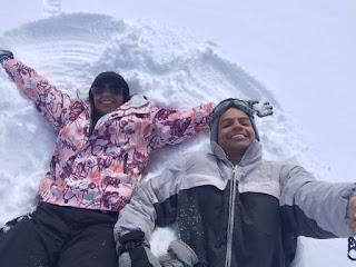 Brincando na neve no parque Piedras Blancas em Bariloche