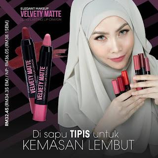 Normal price : RM 36.05 Member price : RM 32.45  ✿ Nak beli dengan harga ahli ?  ✿ Whtsapp 0134040411 → confirm dapat harga ahli TANPA perlu daftar ☺  Velvety Matte Long Lasting Lip Crayon