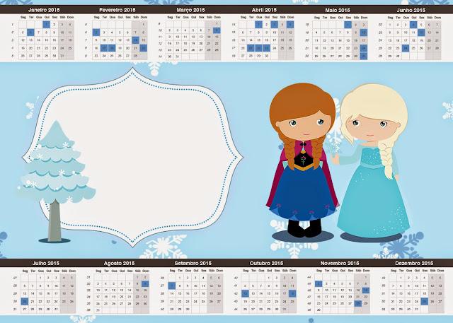 Calendario 2015 para imprimir gratis de Frozen Niñas para Navidad Azul.