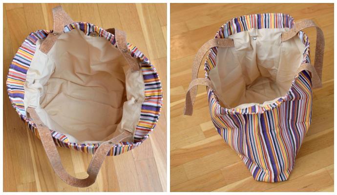 Blick ins Innere der Tasche: Naturfarbene Baumwolle (uni) mit Blende aus Außenstoff