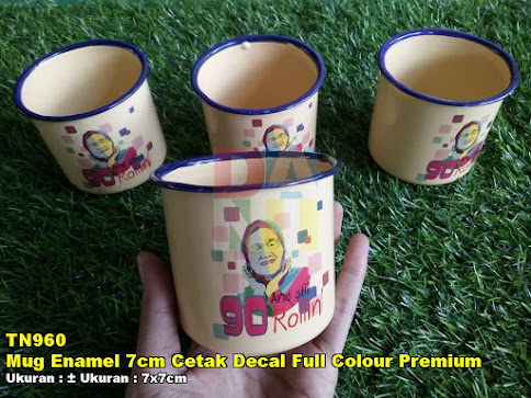 Mug Enamel 7cm Cetak Decal Full Colour Premium