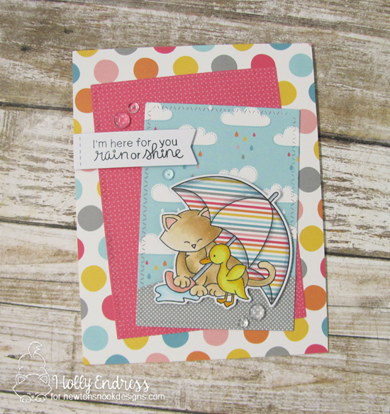 Cat and Umbrella Card by Holly Endress | Newton's Rainy Day stamp set and die set by Newton's Nook Designs #newtonsnook