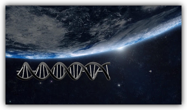 Double-Helical Space Station Orbiting Earth