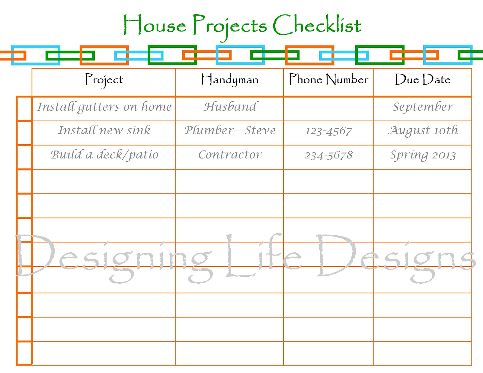 Daily Work Checklist Template