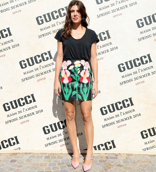 Gucci Spring/Summer 2018 Collection fashion show at Milan Fashion Week. Monaco Princess Gucci floral print Skirt