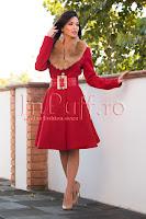 Palton elegant rosu din stofa