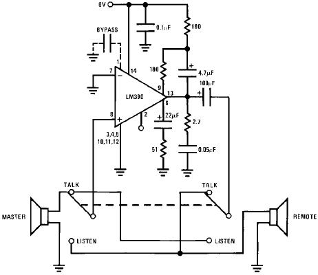 LM 390 based on 2-Way Intercom ~Circuit diagram
