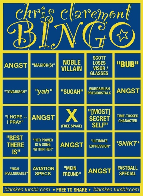 Chris Claremont Bingo card with boxed marked: angst; 'Magick(s)'; noble villain; Scott loses visor/glasses; 'Bub'; 'Tovarisch'; 'yah'; 'Sugah'; wordsmush precioustalk; angst; 'I hope -- I pray'; angst; X (free space) [middle]; 'most secret self'; time-tossed character; 'best there is'; 'Her power is a song within her'; angst; 'ultimate expression'; *snikt*; 'nigh-invulnerable'; aviation specs; 'Mein Freund'; angst; fastball special