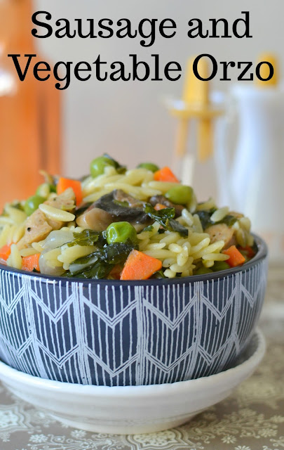 Sausage and Vegetable Orzo Recipe plus 18 Dinner for Two Ideas! An easy dinner idea for two, or side for the whole family! Packed full of veggies like kale, peas and carrots and delicious chicken sausage!