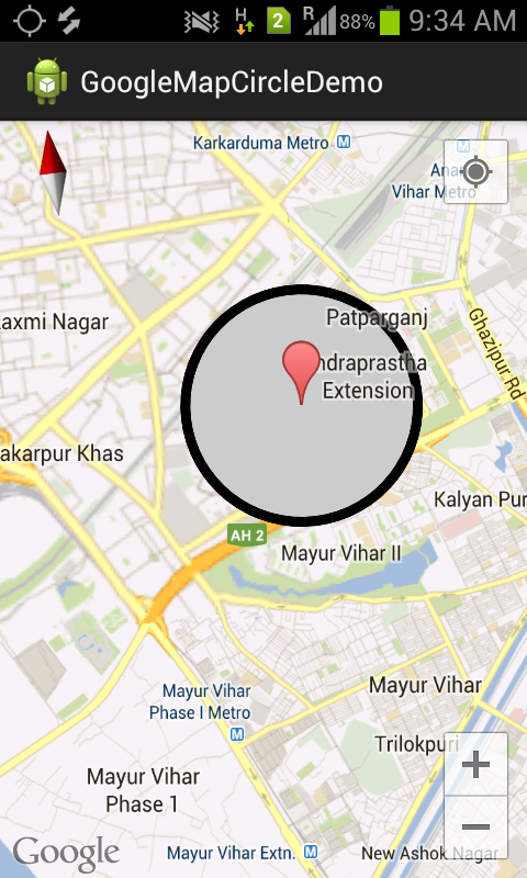 Android Hub 4 You The Free Android Programming Tutorial Android Google Map Version 2 Integration Draw Circle On Google Map Version 2 Draw Marker On Google Map Version 2