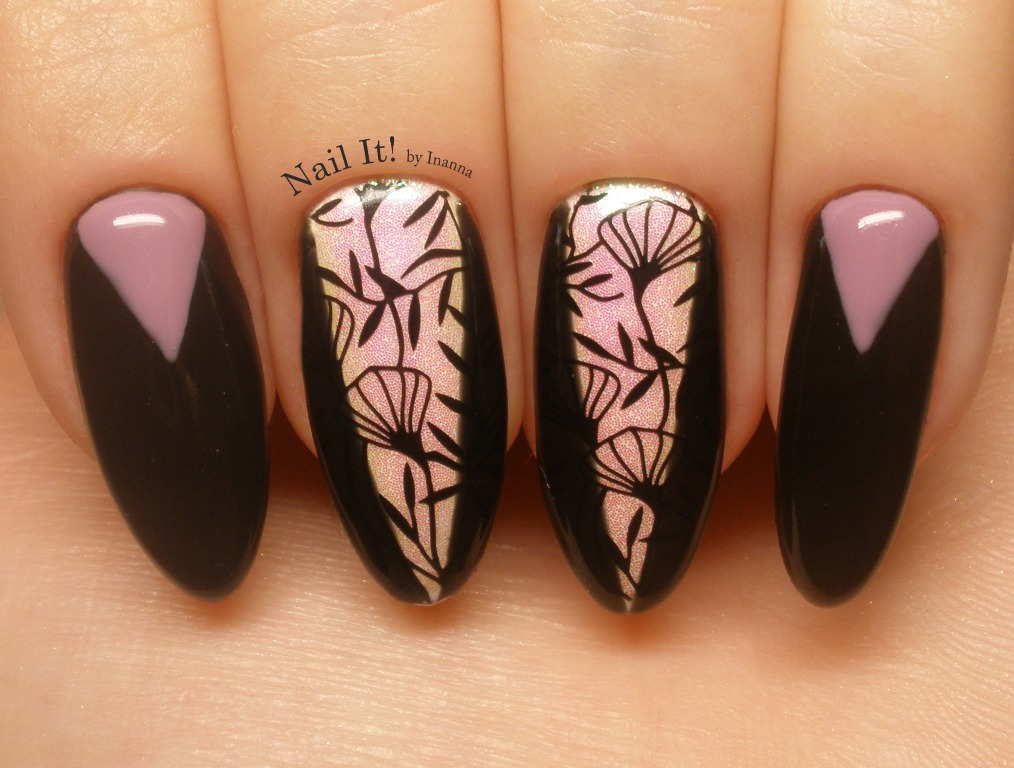 "Chevron stamping nail art with Indigo Nails ""Sensual"" gel polish and Mermaid Effect ""Black 2"""