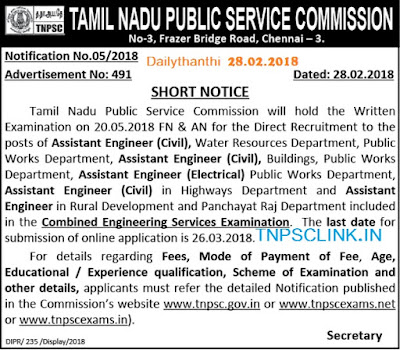 TNPSC Asst Engineer (Civil) Vacancy Notification 28.02.2018
